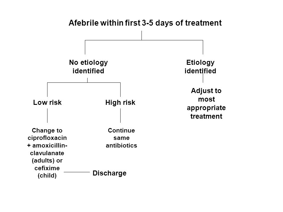 Afebrile within first 3-5 days of treatment No etiology identified Etiology identified Adjust to most appropriate treatment Low riskHigh risk Continue