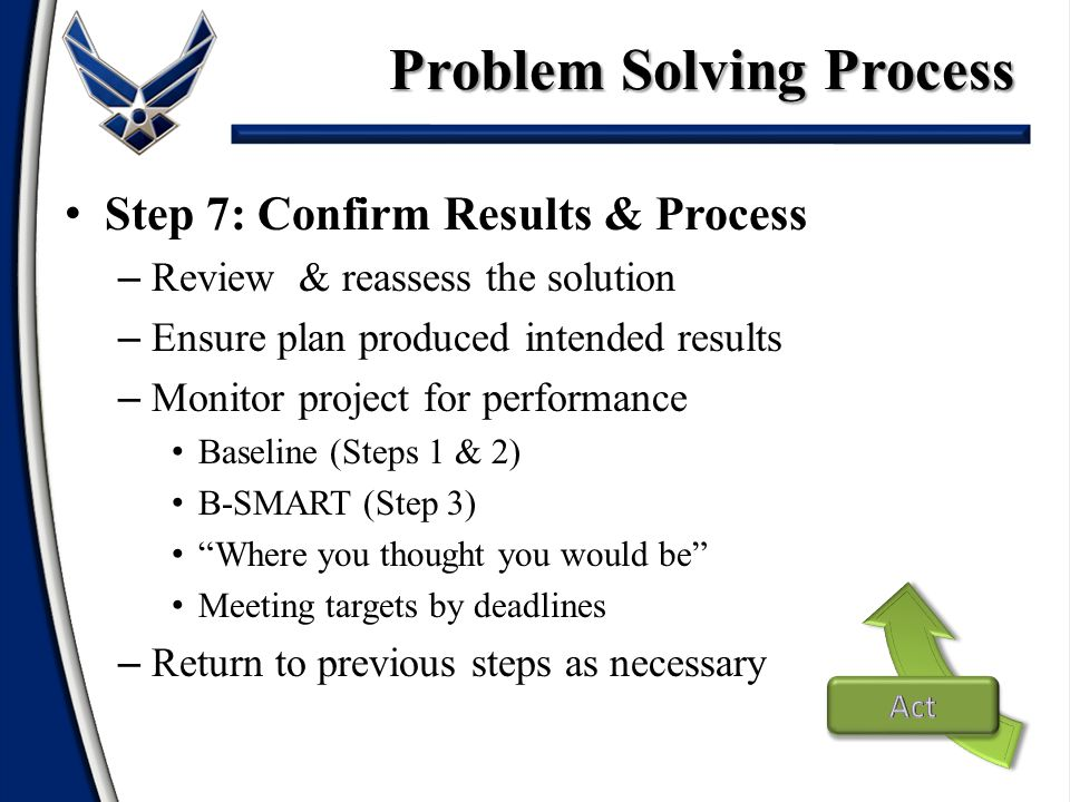 Step 7: Confirm Results & Process – Review & reassess the solution – Ensure plan produced intended results – Monitor project for performance Baseline (Steps 1 & 2) B-SMART (Step 3) Where you thought you would be Meeting targets by deadlines – Return to previous steps as necessary Problem Solving Process
