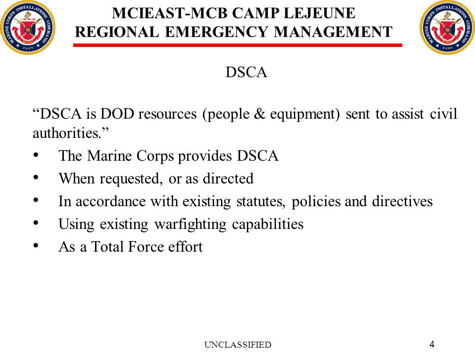 15 MCIEAST-MCB CAMP LEJEUNE REGIONAL EMERGENCY MANAGEMENT QUESTIONS UNCLASSIFIED