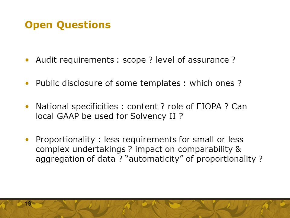Open Questions Audit requirements : scope ? level of assurance ? Public disclosure of some templates : which ones ? National specificities : content ?