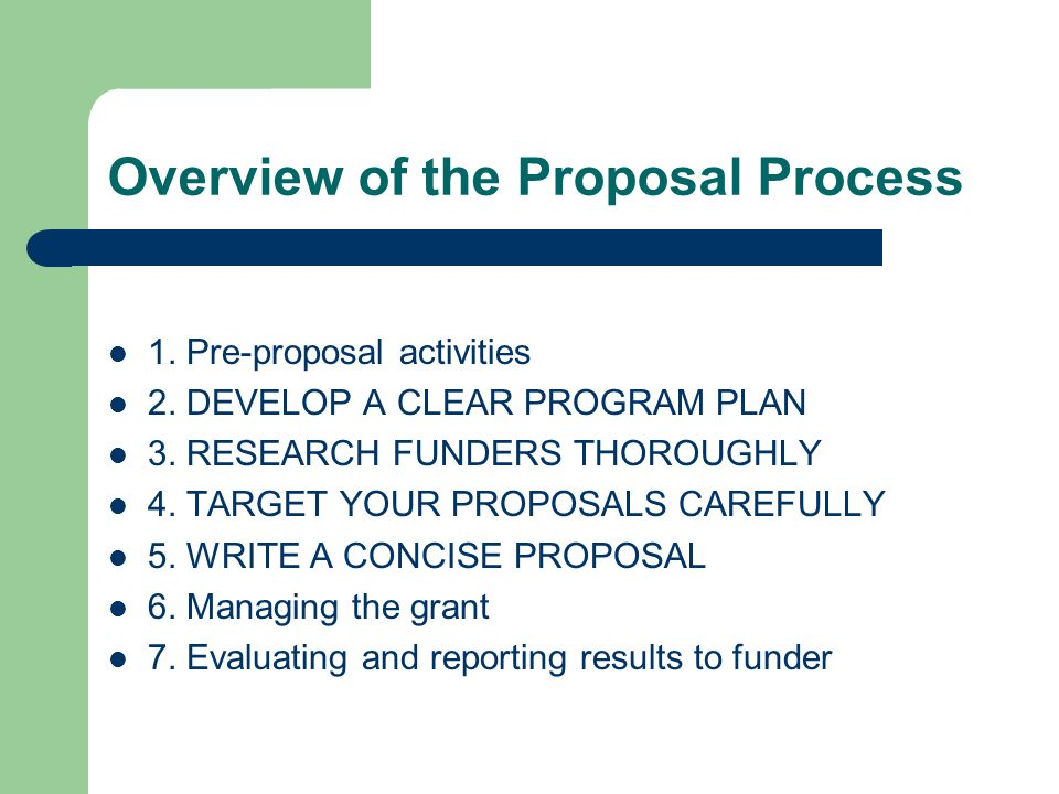 Overview of the Proposal Process 1. Pre-proposal activities 2.