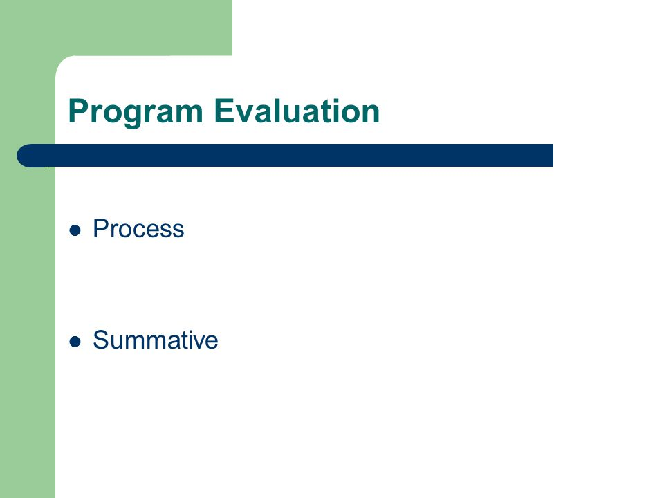 Program Evaluation Process Summative