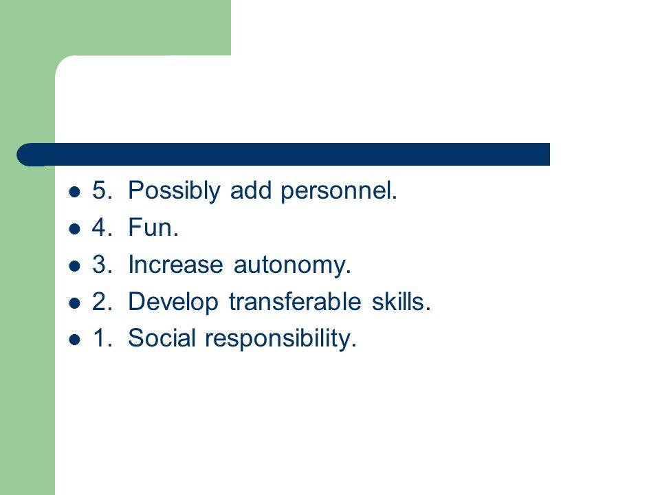 5. Possibly add personnel. 4. Fun. 3. Increase autonomy.