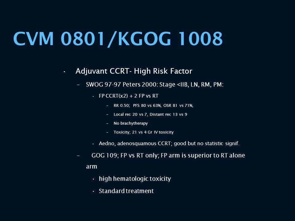 CVM 0801/KGOG 1008 Adjuvant CCRT- High Risk Factor –SWOG 97-97 Peters 2000: Stage <IIB, LN, RM, PM: FP CCRT(x2) + 2 FP vs RT –RR 0.50; PFS 80 vs 63%,