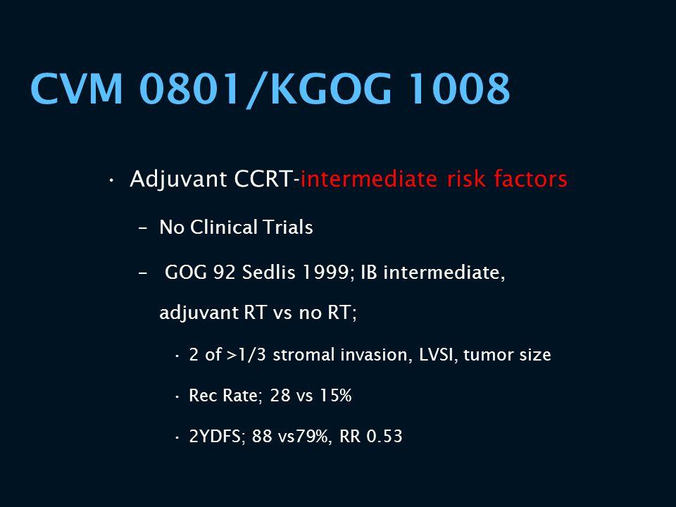 CVM 0801/KGOG 1008 Adjuvant CCRT-intermediate risk factors –No Clinical Trials – GOG 92 Sedlis 1999; IB intermediate, adjuvant RT vs no RT; 2 of >1/3