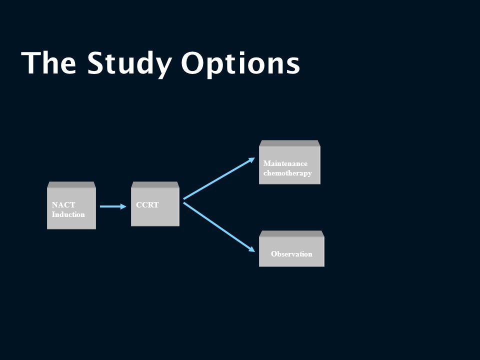 The Study Options NACT Induction CCRT Maintenance chemotherapy Observation
