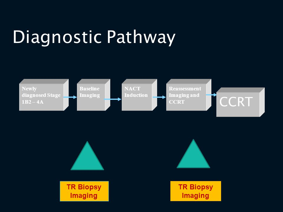 Diagnostic Pathway NACT Induction Newly diagnosed Stage 1B2 – 4A CCRT Baseline Imaging Reassessment Imaging and CCRT TR Biopsy Imaging TR Biopsy Imagi