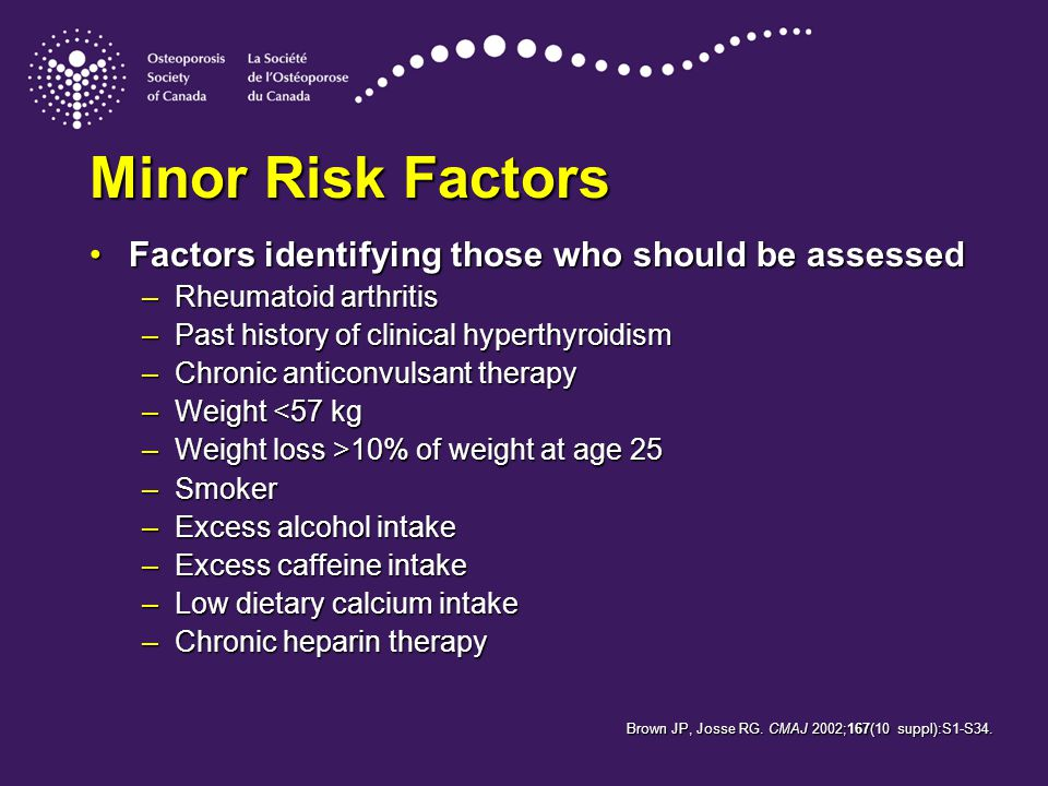Factors identifying those who should be assessedFactors identifying those who should be assessed –Rheumatoid arthritis –Past history of clinical hyperthyroidism –Chronic anticonvulsant therapy –Weight <57 kg –Weight loss >10% of weight at age 25 –Smoker –Excess alcohol intake –Excess caffeine intake –Low dietary calcium intake –Chronic heparin therapy Minor Risk Factors Brown JP, Josse RG.