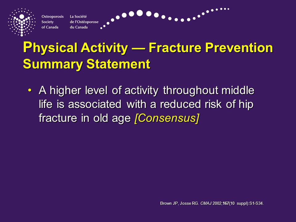 P hysical Activity — Fracture Prevention Summary Statement A higher level of activity throughout middle life is associated with a reduced risk of hip fracture in old age [Consensus]A higher level of activity throughout middle life is associated with a reduced risk of hip fracture in old age [Consensus] Brown JP, Josse RG.