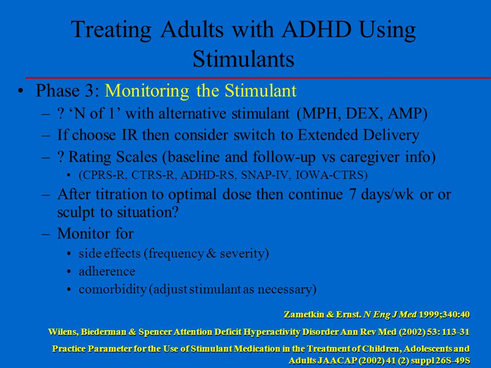 Treating Adults with ADHD Using Stimulants Phase 3: Monitoring the Stimulant –.