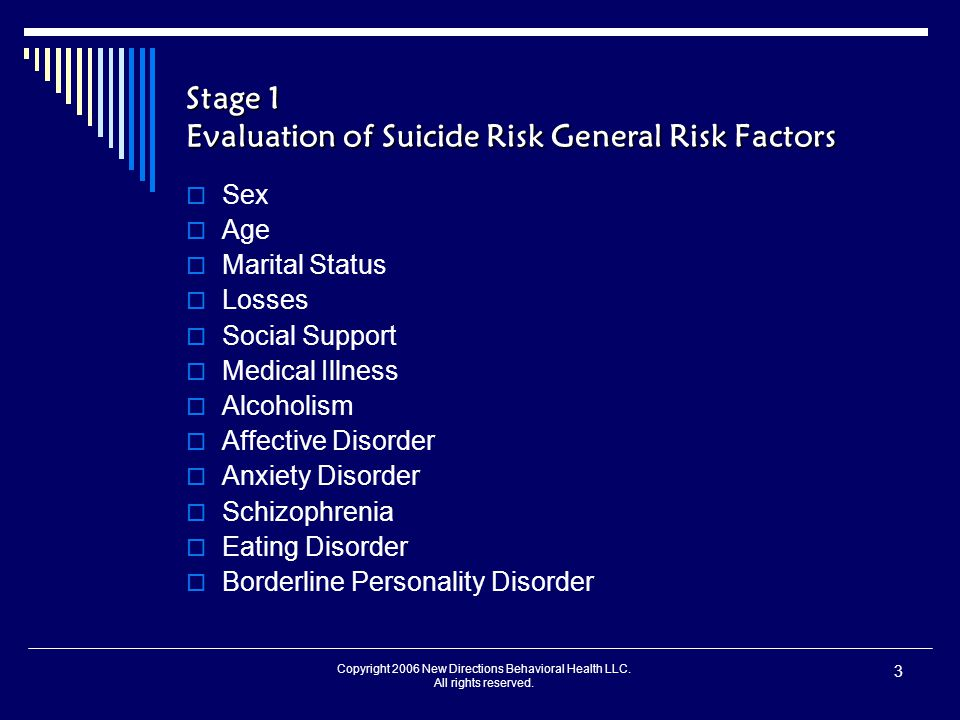 Copyright 2006 New Directions Behavioral Health LLC. All rights reserved. 3 Stage 1 Evaluation of Suicide Risk General Risk Factors  Sex  Age  Mari