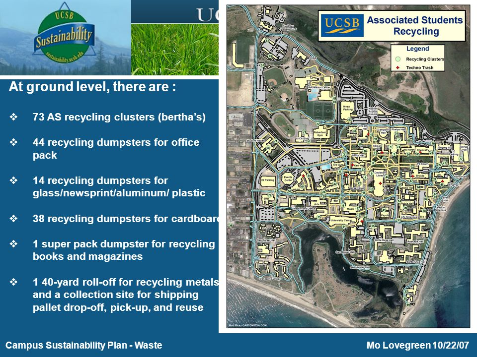Purchasing Toward Energy and Environmental Sustainability Mo Lovegreen 10/22/07Campus Sustainability Plan - Waste At ground level, there are :  73 AS recycling clusters (bertha's)  44 recycling dumpsters for office pack  14 recycling dumpsters for glass/newsprint/aluminum/ plastic  38 recycling dumpsters for cardboard  1 super pack dumpster for recycling books and magazines  1 40-yard roll-off for recycling metals and a collection site for shipping pallet drop-off, pick-up, and reuse
