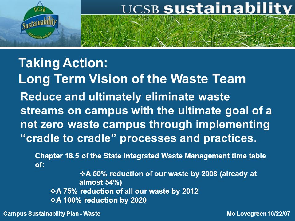 Purchasing Toward Energy and Environmental Sustainability Mo Lovegreen 10/22/07Campus Sustainability Plan - Waste Reduce the UCSB waste stream to zero using the parameters of the Natural Step system Taking Action: Mission Statement
