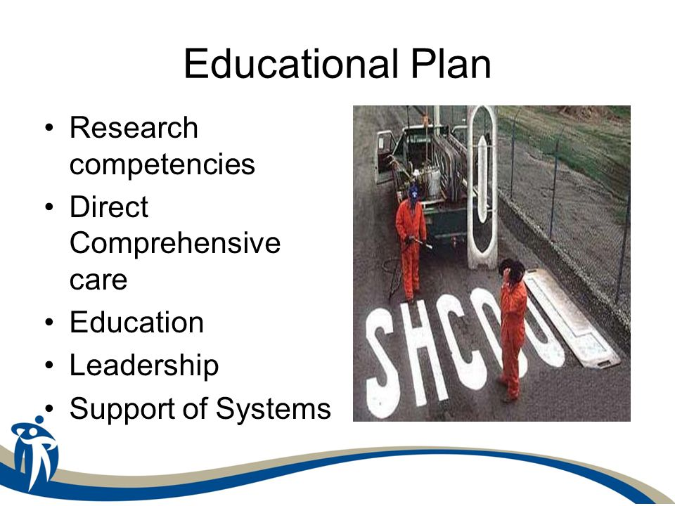 Educational Plan Research competencies Direct Comprehensive care Education Leadership Support of Systems