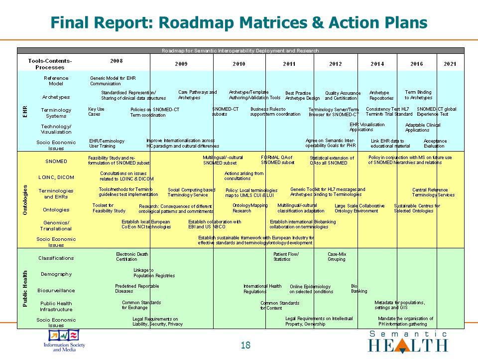 18 Final Report: Roadmap Matrices & Action Plans