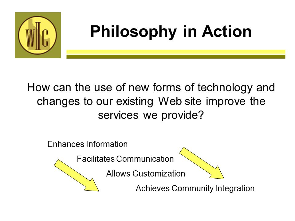 Philosophy in Action How can the use of new forms of technology and changes to our existing Web site improve the services we provide.