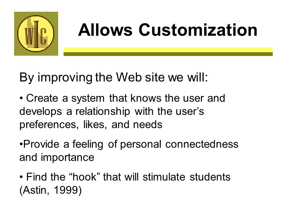 Allows Customization By improving the Web site we will: Create a system that knows the user and develops a relationship with the user's preferences, likes, and needs Provide a feeling of personal connectedness and importance Find the hook that will stimulate students (Astin, 1999)