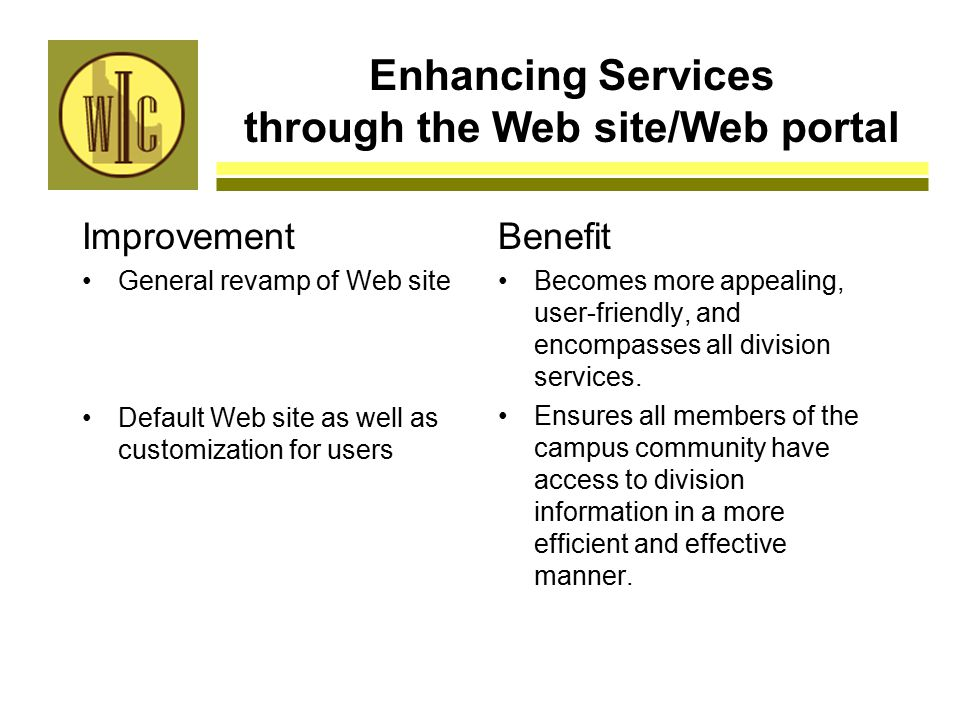 Enhancing Services through the Web site/Web portal Improvement General revamp of Web site Default Web site as well as customization for users Benefit Becomes more appealing, user-friendly, and encompasses all division services.
