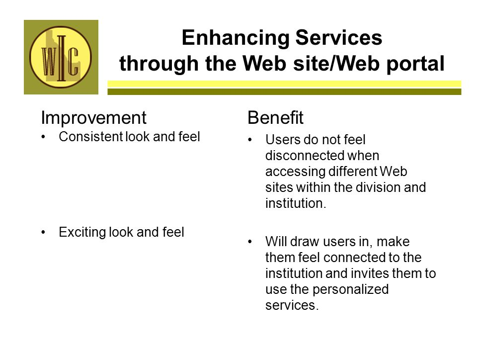 Enhancing Services through the Web site/Web portal Improvement Consistent look and feel Exciting look and feel Benefit Users do not feel disconnected