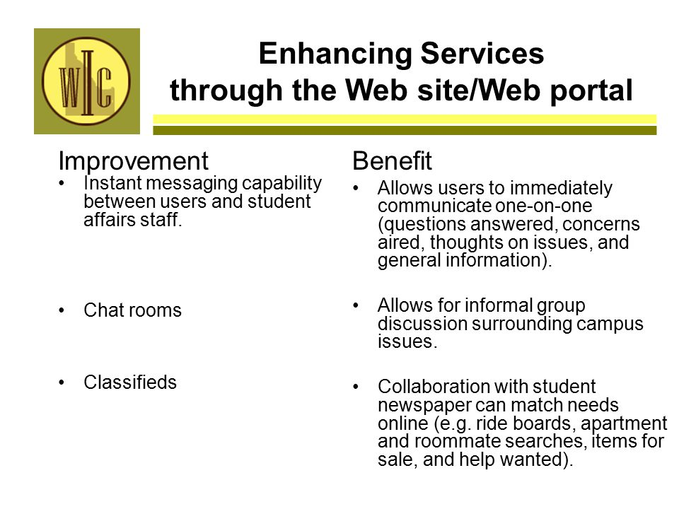 Enhancing Services through the Web site/Web portal Improvement Instant messaging capability between users and student affairs staff.