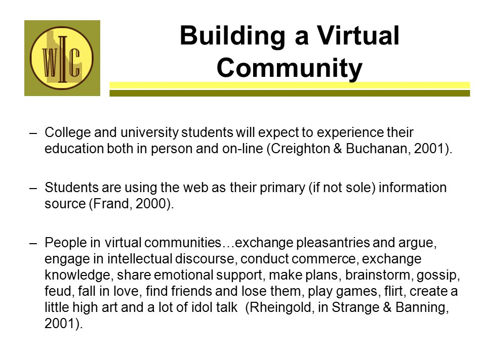 Building a Virtual Community –College and university students will expect to experience their education both in person and on-line (Creighton & Buchanan, 2001).