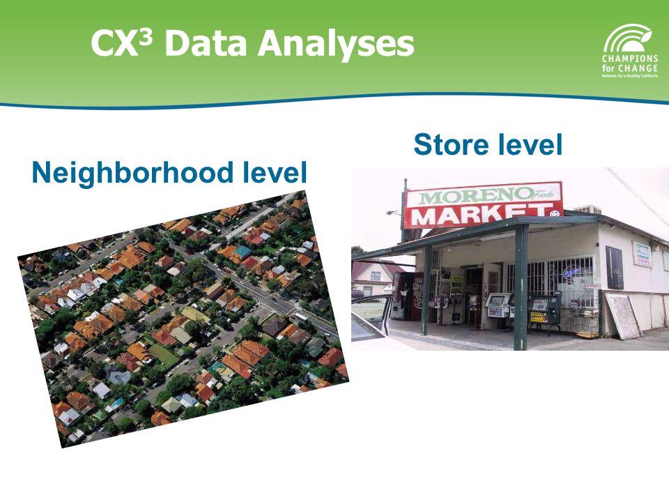 CX 3 Data Analyses Neighborhood level Store level