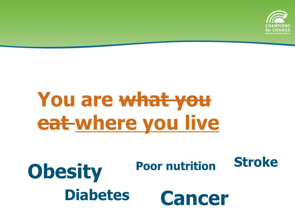 You are what you eat where you live Obesity Poor nutrition Diabetes Cancer Stroke