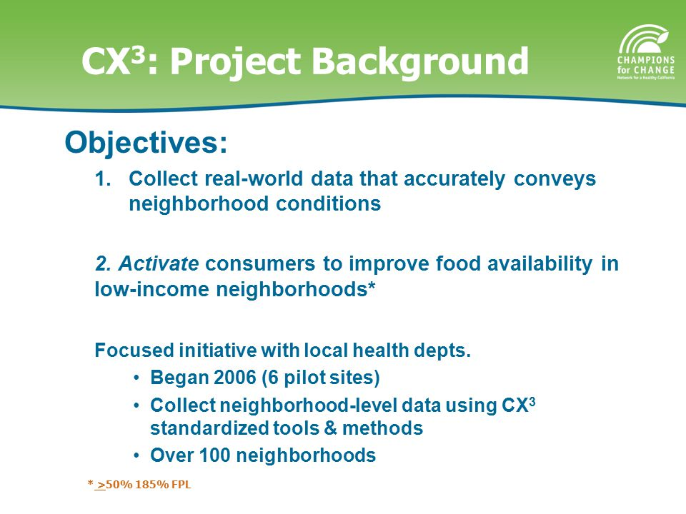 CX 3 : Project Background Objectives: 1.Collect real-world data that accurately conveys neighborhood conditions 2.