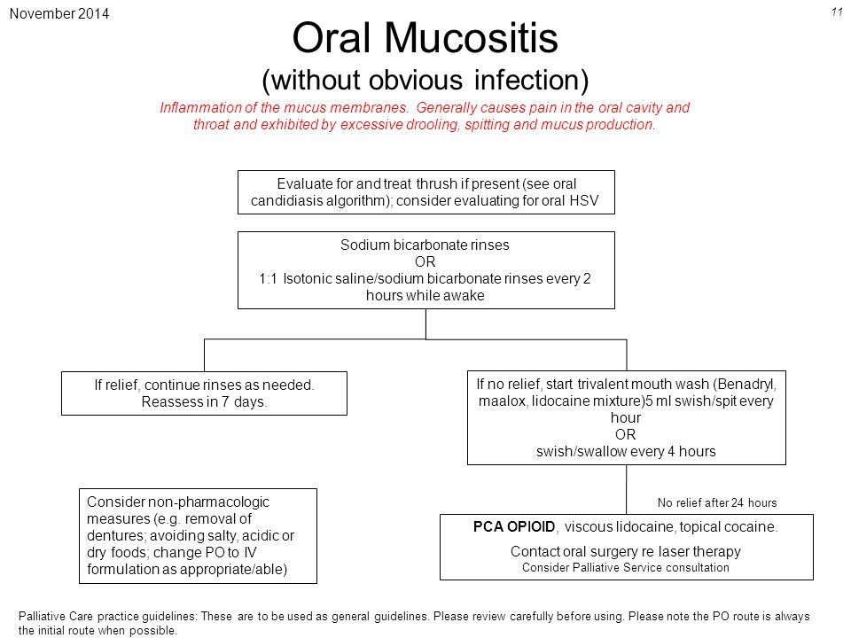 November 2014 11 Oral Mucositis (without obvious infection) Sodium bicarbonate rinses OR 1:1 Isotonic saline/sodium bicarbonate rinses every 2 hours while awake If relief, continue rinses as needed.