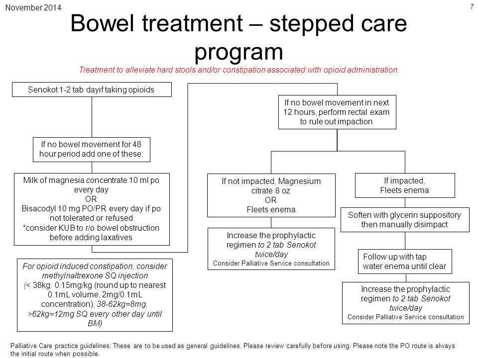 November 2014 7 Bowel treatment – stepped care program Senokot 1-2 tab dayif taking opioids If no bowel movement for 48 hour period add one of these: Milk of magnesia concentrate 10 ml po every day OR Bisacodyl 10 mg PO/PR every day if po not tolerated or refused *consider KUB to r/o bowel obstruction before adding laxatives If no bowel movement in next 12 hours, perform rectal exam to rule out impaction If not impacted, Magnesium citrate 8 oz OR Fleets enema Soften with glycerin suppository then manually disimpact Increase the prophylactic regimen to 2 tab Senokot twice/day Consider Palliative Service consultation If impacted, Fleets enema Increase the prophylactic regimen to 2 tab Senokot twice/day Consider Palliative Service consultation Treatment to alleviate hard stools and/or constipation associated with opioid administration.