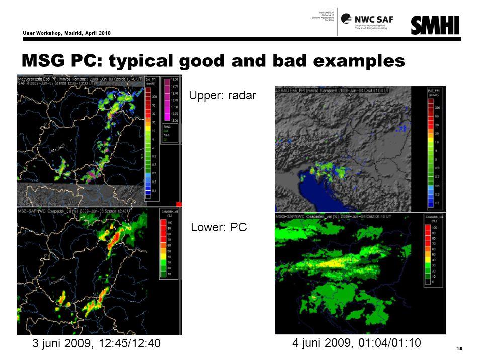 User Workshop, Madrid, April 2010 15 MSG PC: typical good and bad examples Upper: radar Lower: PC 4 juni 2009, 01:04/01:10 3 juni 2009, 12:45/12:40