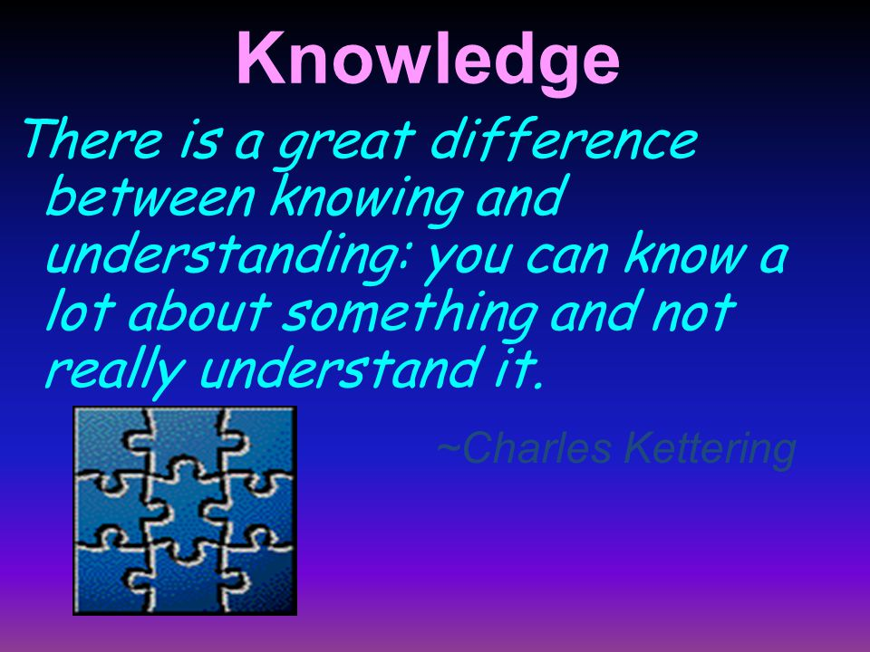 Knowledge There is a great difference between knowing and understanding: you can know a lot about something and not really understand it.