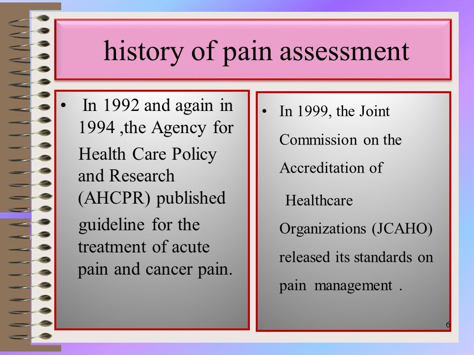 history of pain assessment In 1992 and again in 1994,the Agency for Health Care Policy and Research (AHCPR) published guideline for the treatment of acute pain and cancer pain.