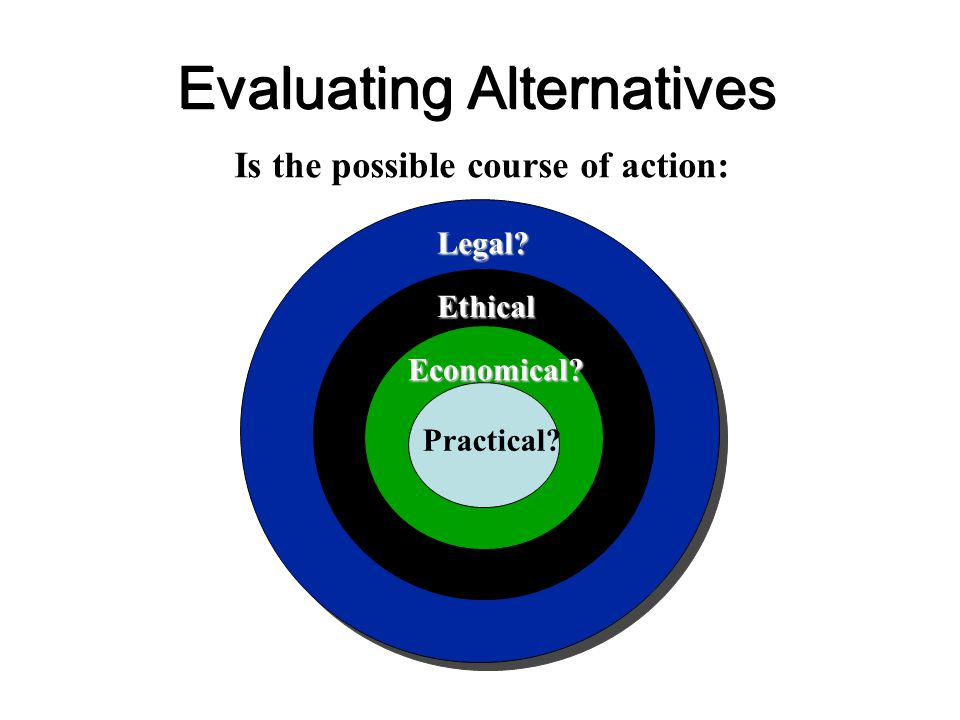 Evaluating Alternatives Legal? Ethical Economical? Practical? Is the possible course of action:
