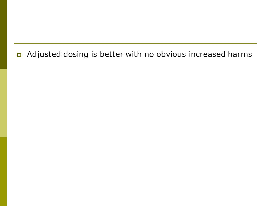  Adjusted dosing is better with no obvious increased harms