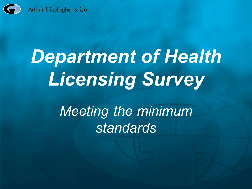 Department of Health Licensing Survey Who has the rock in their pocket.