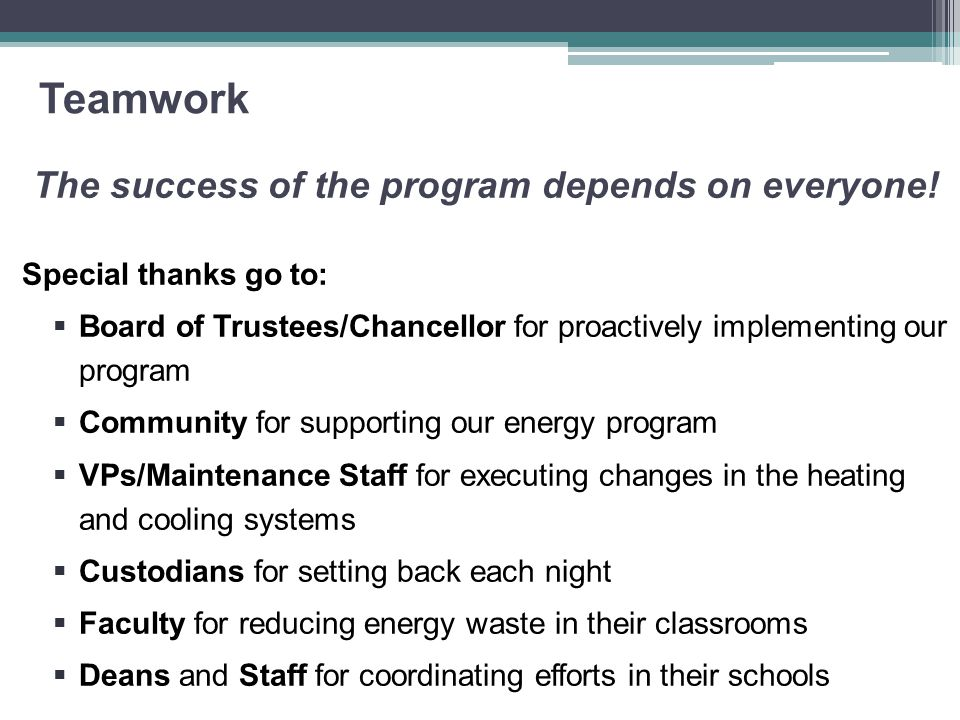 Teamwork The success of the program depends on everyone! Special thanks go to:  Board of Trustees/Chancellor for proactively implementing our program