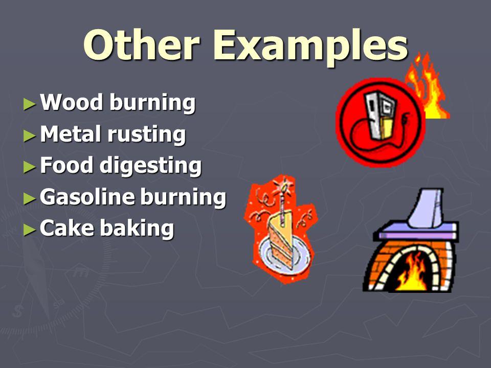 Other Examples ► Wood burning ► Metal rusting ► Food digesting ► Gasoline burning ► Cake baking