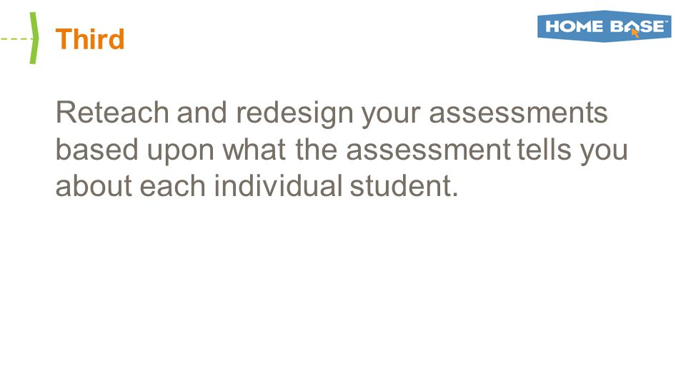 Third Reteach and redesign your assessments based upon what the assessment tells you about each individual student.