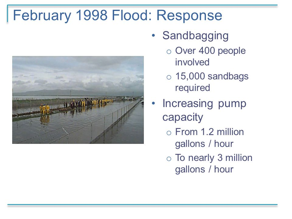 February 1998 Flood: Response Sandbagging o Over 400 people involved o 15,000 sandbags required Increasing pump capacity o From 1.2 million gallons / hour o To nearly 3 million gallons / hour