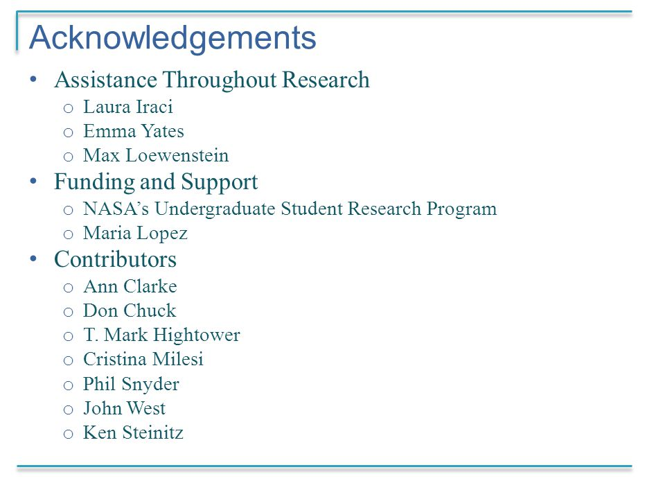 Acknowledgements Assistance Throughout Research o Laura Iraci o Emma Yates o Max Loewenstein Funding and Support o NASA's Undergraduate Student Research Program o Maria Lopez Contributors o Ann Clarke o Don Chuck o T.