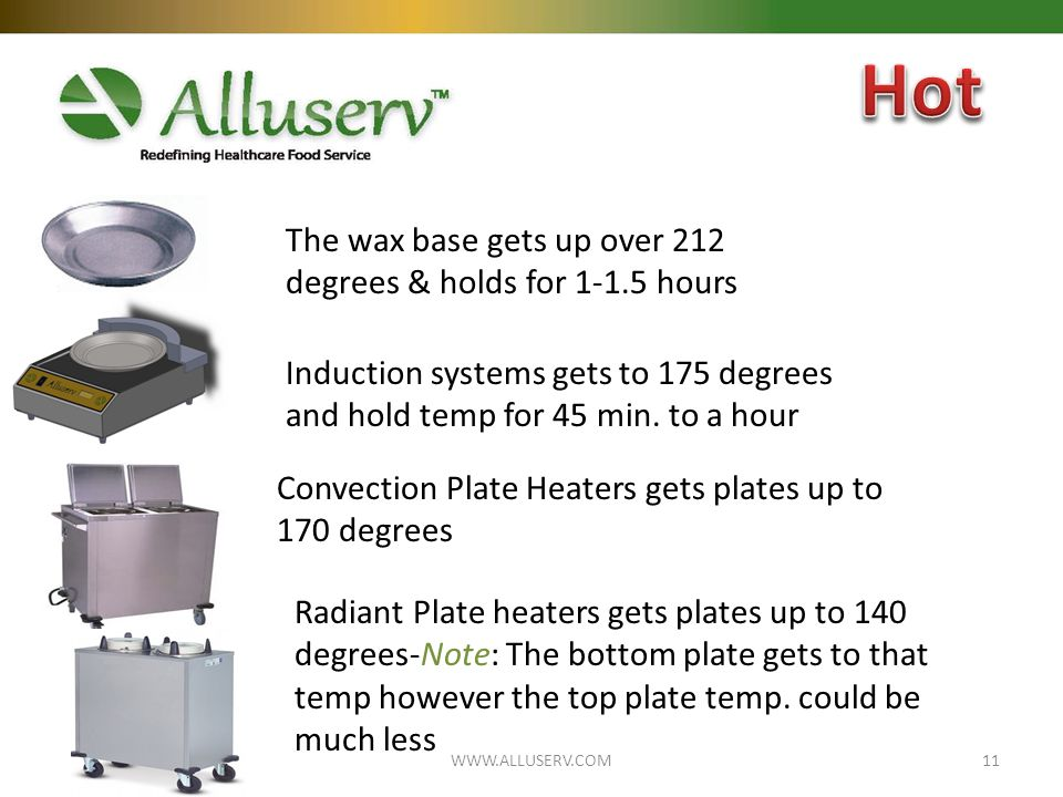Convection Plate Heaters gets plates up to 170 degrees Radiant Plate heaters gets plates up to 140 degrees-Note: The bottom plate gets to that temp however the top plate temp.