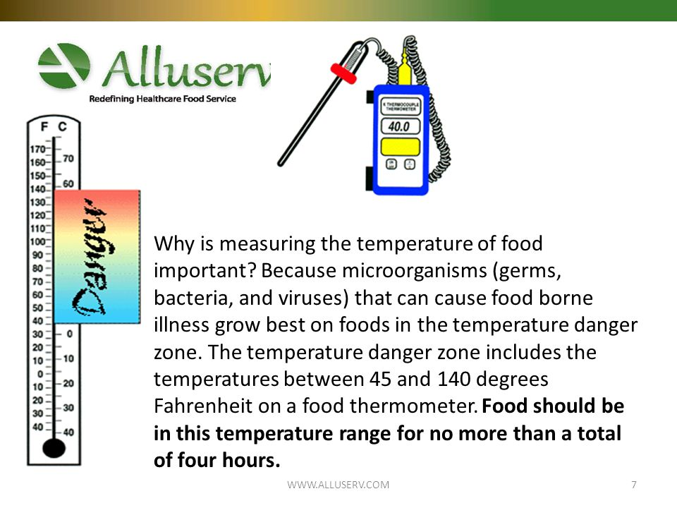 Why is measuring the temperature of food important.