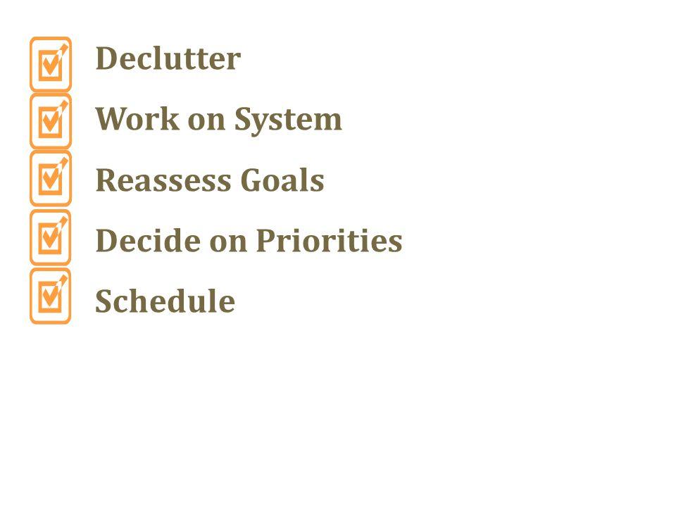 Declutter Work on System Reassess Goals Decide on Priorities Schedule