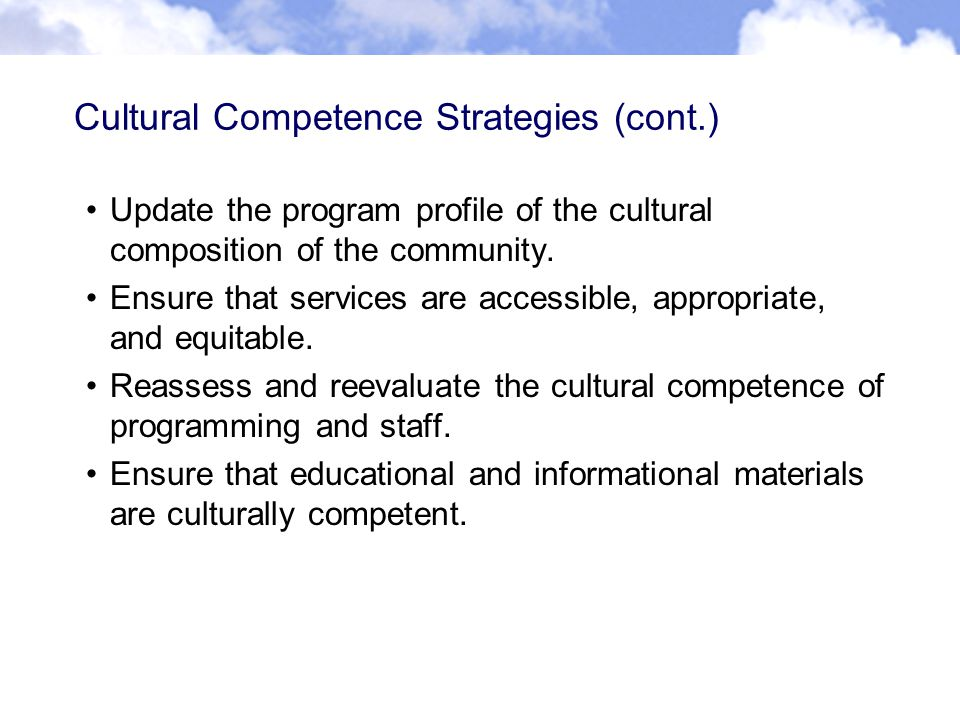 Cultural Competence Strategies (cont.) Update the program profile of the cultural composition of the community.