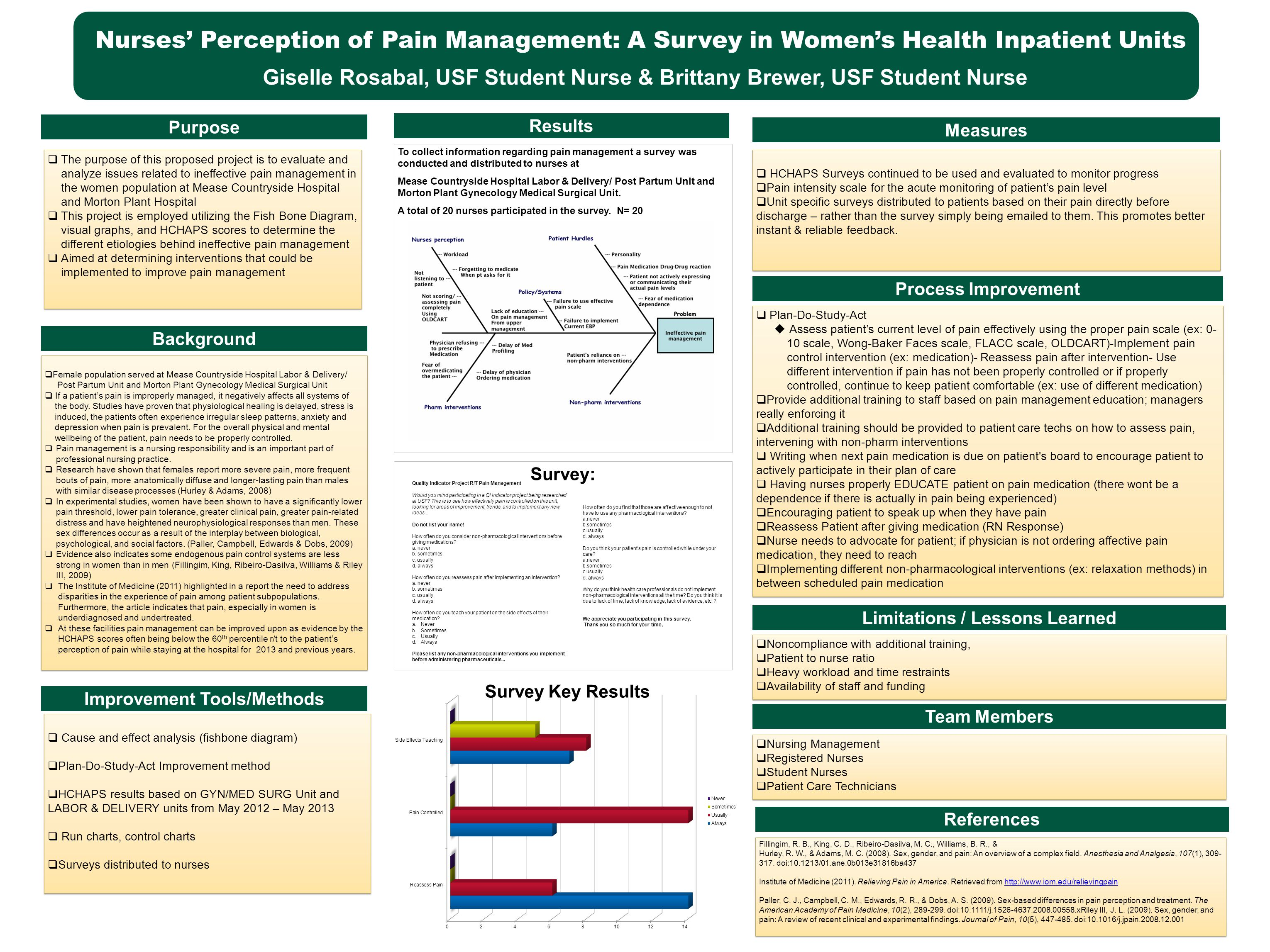 Purpose Improvement Tools/Methods Limitations / Lessons Learned Results Process Improvement Nurses' Perception of Pain Management: A Survey in Women's Health Inpatient Units Giselle Rosabal, USF Student Nurse & Brittany Brewer, USF Student Nurse  The purpose of this proposed project is to evaluate and analyze issues related to ineffective pain management in the women population at Mease Countryside Hospital and Morton Plant Hospital  This project is employed utilizing the Fish Bone Diagram, visual graphs, and HCHAPS scores to determine the different etiologies behind ineffective pain management  Aimed at determining interventions that could be implemented to improve pain management  The purpose of this proposed project is to evaluate and analyze issues related to ineffective pain management in the women population at Mease Countryside Hospital and Morton Plant Hospital  This project is employed utilizing the Fish Bone Diagram, visual graphs, and HCHAPS scores to determine the different etiologies behind ineffective pain management  Aimed at determining interventions that could be implemented to improve pain management  Female population served at Mease Countryside Hospital Labor & Delivery/ Post Partum Unit and Morton Plant Gynecology Medical Surgical Unit  If a patient's pain is improperly managed, it negatively affects all systems of the body.