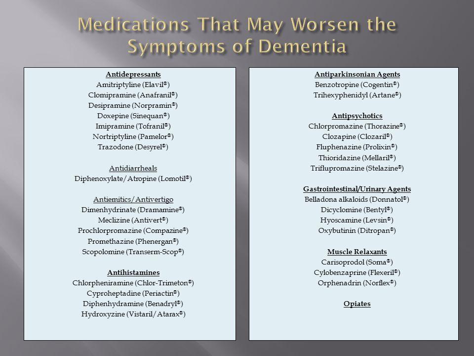 Antidepressants Amitriptyline (Elavil ® ) Clomipramine (Anafranil ® ) Desipramine (Norpramin ® ) Doxepine (Sinequan ® ) Imipramine (Tofranil ® ) Nortriptyline (Pamelor ® ) Trazodone (Desyrel ® ) Antidiarrheals Diphenoxylate/Atropine (Lomotil ® ) Antiemitics/Antivertigo Dimenhydrinate (Dramamine ® ) Meclizine (Antivert ® ) Prochlorpromazine (Compazine ® ) Promethazine (Phenergan ® ) Scopolomine (Transerm-Scop ® ) Antihistamines Chlorpheniramine (Chlor-Trimeton ® ) Cyproheptadine (Periactin ® ) Diphenhydramine (Benadryl ® ) Hydroxyzine (Vistaril/Atarax ® ) Antiparkinsonian Agents Benzotropine (Cogentin ® ) Trihexyphenidyl (Artane ® ) Antipsychotics Chlorpromazine (Thorazine ® ) Clozapine (Clozaril ® ) Fluphenazine (Prolixin ® ) Thioridazine (Mellaril ® ) Triflupromazine (Stelazine ® ) Gastrointestinal/Urinary Agents Belladona alkaloids (Donnatol ® ) Dicyclomine (Bentyl ® ) Hyoscamine (Levsin ® ) Oxybutinin (Ditropan ® ) Muscle Relaxants Carisoprodol (Soma ® ) Cylobenzaprine (Flexeril ® ) Orphenadrin (Norflex ® ) Opiates
