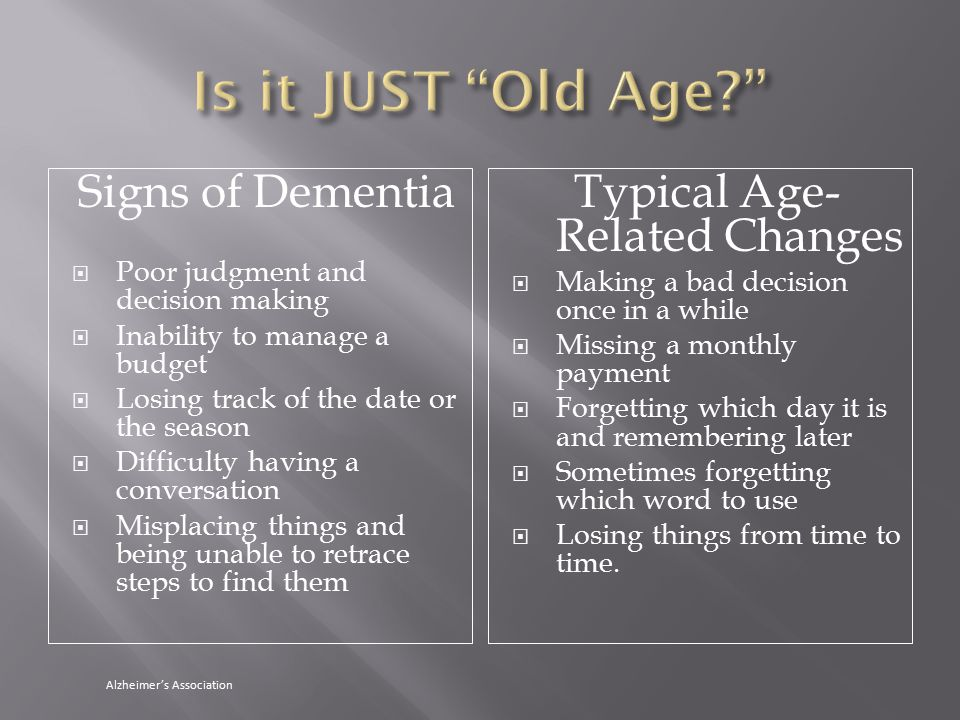 Signs of Dementia  Poor judgment and decision making  Inability to manage a budget  Losing track of the date or the season  Difficulty having a conversation  Misplacing things and being unable to retrace steps to find them Typical Age- Related Changes  Making a bad decision once in a while  Missing a monthly payment  Forgetting which day it is and remembering later  Sometimes forgetting which word to use  Losing things from time to time.