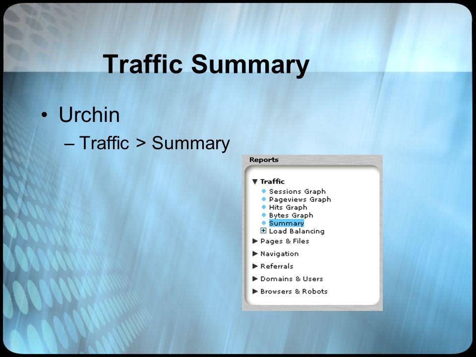 Traffic Summary Urchin –Traffic > Summary