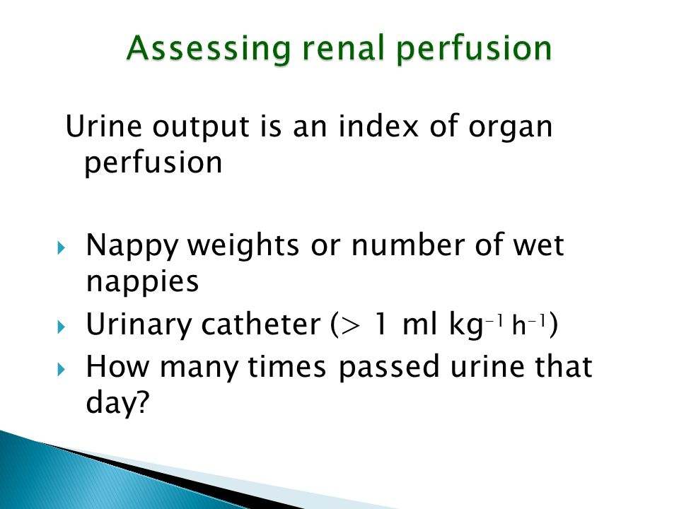 Assessing renal perfusion Urine output is an index of organ perfusion  Nappy weights or number of wet nappies  Urinary catheter (> 1 ml kg -1 h -1 )